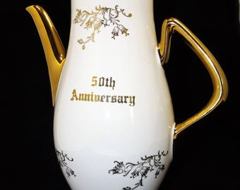 50th Aniversary Hand Decorated Coffee Pot, Pearl China, Japan, 22k Gold