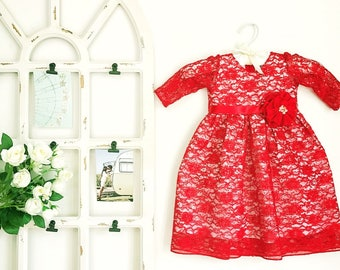 Red lace organic cotton baby girl's gown, Swarovski crystals dress, special occasion red lace dress, christmas red dress, christmas red lace