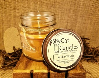 SoyCat Candles 8 oz Amber Woods (Amber, Wood and Musk scented/100% Soy Wax/Homemade/Rustic Style)