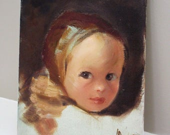 Vintage Girl Child Portrait Signed Painting Oil Canvas Muted Brown Earth Tones