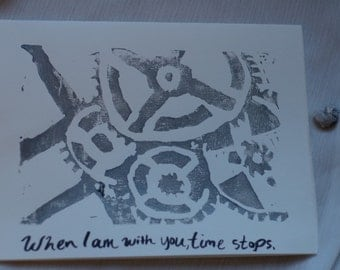 Time Greeting Card - handprinted