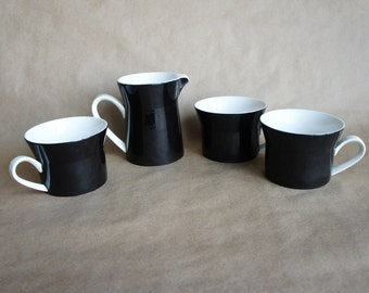 Mikasa Duplex by Ben Seibel in black, Set of 3 flat mugs and creamer