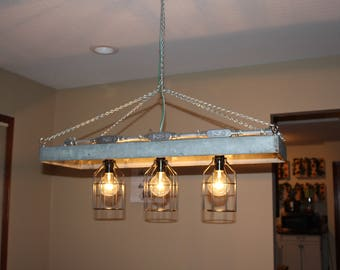 Industrial vintage galvanized chandelier with globe bulbs