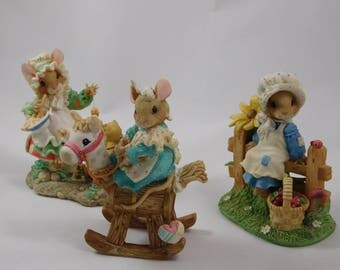 Three Enesco Mouse Figurines, Mouse Tails, by Pricilla Hillman, Ladybug Ladybug, Little Miss Muffet, Rocking Horse