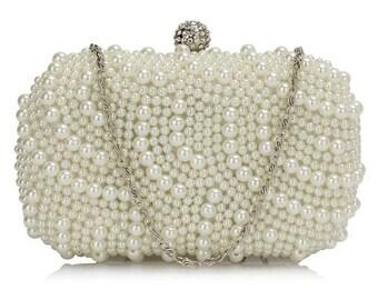 Beautiful Ivory Pearl Bridal Clutch Bag BAG17