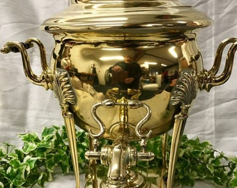 Beautiful Large 19th Century Antique Brass Samovar Tea Urn Water Boiler c.1800's