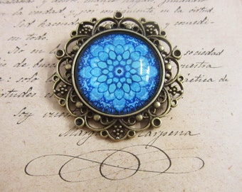 Blue Flower of Life Sacred Geometry antique bronze cabochons charms
