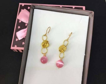 Wire earrings and Pearl Pink cat eye