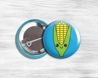 Kawaii Corn Vegan Vegetarian Vegetable Pinback Button Pin 1.75""