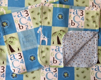 ABC 123 Reversible Baby Blanket & Burp Cloth Set