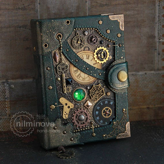"Dark green Steampunk journal ""If there is no time"" A6 blank notebook diary by nilminova steampunk buy now online"