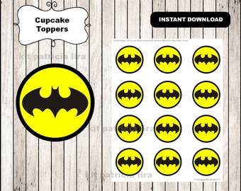 Batman cupcakes etsy batman logo toppers instant download batman cupcakes toppers labels printable batman toppers pronofoot35fo Choice Image