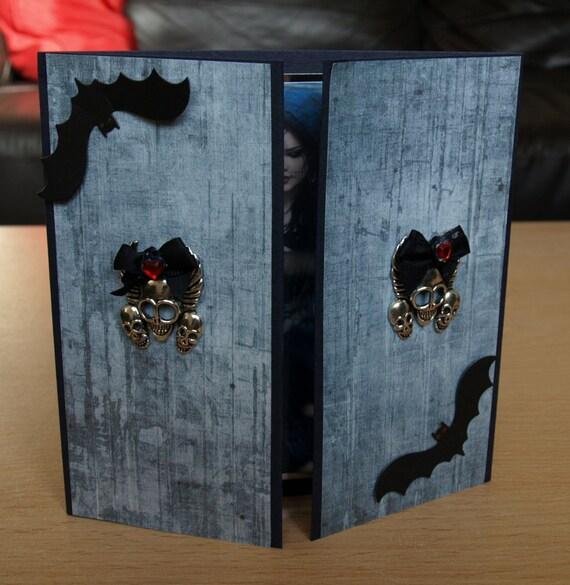 Gothic Handmade Gatefold Card - birthday luxury personalised unique quality special vampire twilight fantasy UK