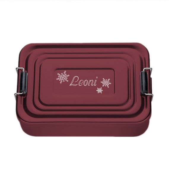 Personalised Lunchbox - Red Bento Box with Engraving - Personalised with Name - Snowflakes Motive - Aluminium