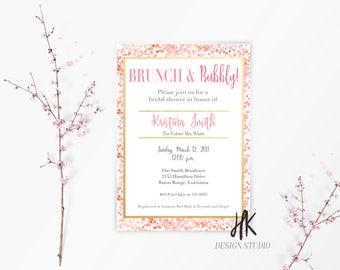 PRINTABLE: Brunch and Bubbly Invitation / Bridal Shower Invitation / Wedding Invitation / Bridal Brunch Invitation