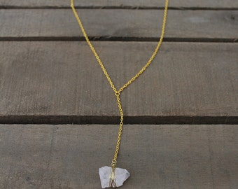 Rose Quartz Y Necklace