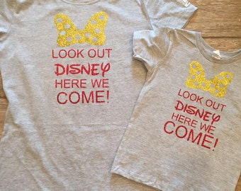 Mommy and me disney here we come shirts