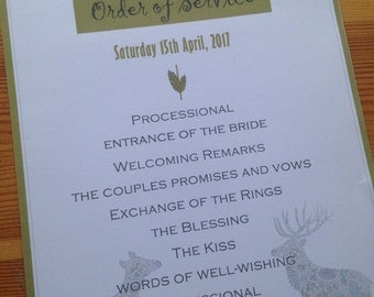 Wedding day Order of Service