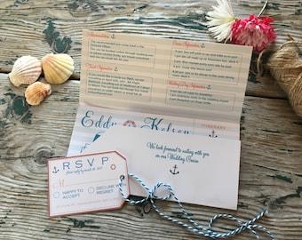 Destination Cruise Wedding Invitation, Boarding pass style - Nautical themed wedding