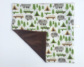 Camping Woodland Animal Boy Minky Baby Lovey Security Blanket Baby Shower Gift Nursery Decor Ready to Ship