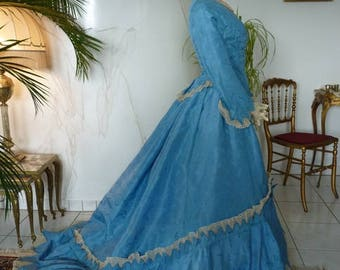 1867 Ball Gown, blue damask, Victorian Dress, antique gown, Antique Evening Dress