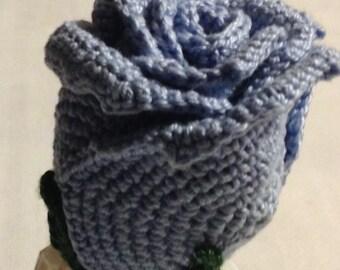 Light blue crochet rose