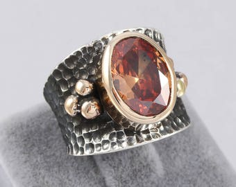 Handmade Hessonite Garnet Stone Authentic Aged Oxidized 925 Sterling Silver  Ladies Ring Size Adjustable