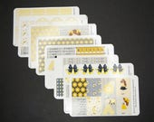 Pretty Bees, Week at a Glance Stickers, Planner Stickers, Erin Condren, Happy Planner