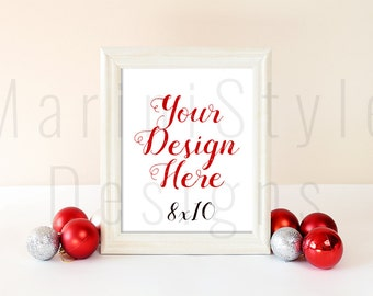 White Frame Mockup, Christmas Empty Frame, 8x10, Holiday Styled Stock Photography, Winter Stock Photo, Christmas Styled Stock image, 290