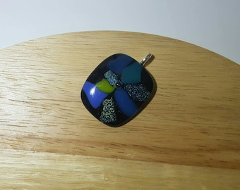 Cool tone blue green shimmer dichroic glass shard slumped pendant