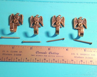 Four Small Vintage Brass Colored Eagle Hooks, Picture Hangers