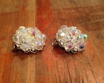 Vintage Clip on Earrings with Plastic Faceted Beads, Cluster