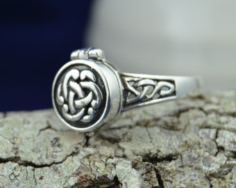 Celtic poison pillbox sterling silver ring sizes 6, 7, 8, 9