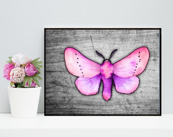 Printable Pink Moth Art, Moth Art Print, Grey Moth Art, Moth Wall Decor, Digital Moth Download, Digital Moth Art, Pink Insect Art, 3d Art