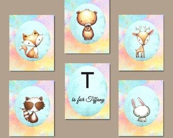 Pastel Nursery Art - Woodland Animal Art, Woodland Nursery Prints, 6 Nursery Prints, Rainbow Nursery Set, Digital Download, Physical Art