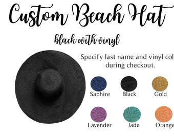 Black Floppy Beach Hat, Beach Hat, Custom Hat, Honeymoon Hat, Black Hat, Floppy Hat, Sun Hat