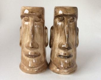 Vintage Kahiki Supper Club Tiki Moai salt & pepper shakers plus matches