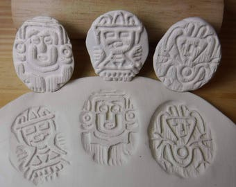 3 Textured Clay Stamps // Aztec, Mayan, Native images // Pottery Texture Clay stamp // Aztec Stamps Set #310