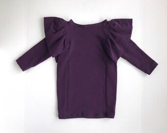 Frill Dress, Purple - Girl Dress, Toddler Dress, Purple Dress, Modern Dress