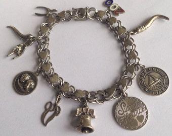 Vintage Sterling Silver Charm Bracelet - Gifts for her, Gifts under 50