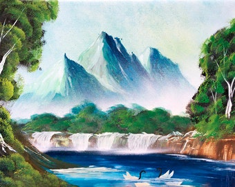 Landscape painting Spring painting Mountain art Gift for wife Wedding gift Acrylic painting Spring gift Nature painting living room decor