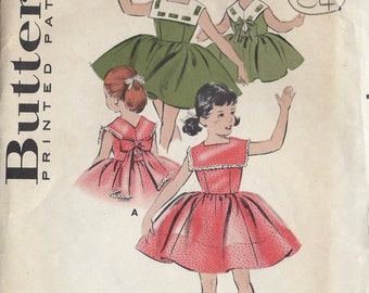 "1950s Childrens Vintage Sewing Pattern S6 C24"" DRESS (C4) Butterick 8545"