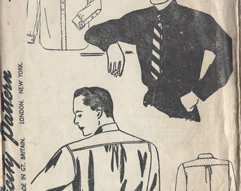 1940s Vintage Sewing Pattern MEN'S SHIRT S:15 1/2  (R537) Simplicity 4138