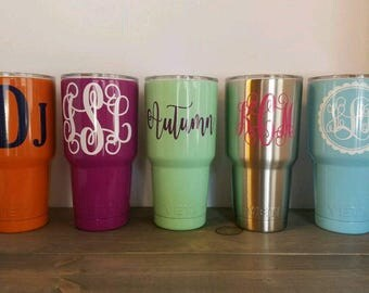 30 oz YETI Rambler/ personalized tumbler/ Monogrammed Yeti/ Custom Yeti/ 30oz Powder Coated Yeti/ Colored Monogram Yeti/
