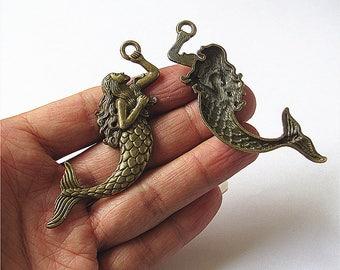 Bulk 10 Mermaid Charm Pendant Antique Brass / Silver Drop Handmade Jewelry Finding 32x75mm