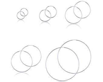 14K White Gold Endless Round Hoop Earrings 1.5mm 15-60mm - Classic Polished Plain Tube
