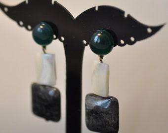 Gems, agate, pearl earrings and larvikite (labradorite)