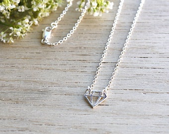 Necklace silver pendant 925 diamond on chain Silver 925