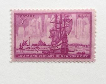 1 unused vintage postage stamps USPS // american new yok anniversary purple stamp // 1953 // 3 cent