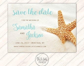 Starfish Save The Date, Starfish Invitation, Starfish Wedding, Beach Save The Date, Starfish Printable, Starfish Theme